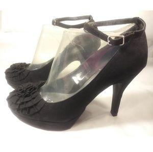 Fergalicious black velvet anklet pumps